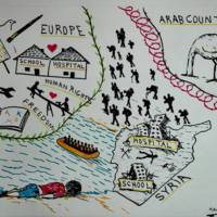 Illustration of the voyage from Syria to Europe by Kawa Aziz 2016
