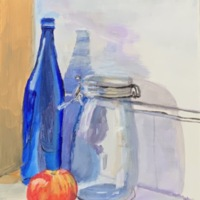 Blue Bottle with Bell Jar and Apple